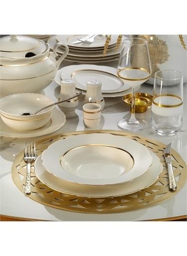 Kütahya Porselen Kütahya Porselen Bone Olympos 62 Parça 1133921 Desenli Altın Fileli Yemek Takımı Renkli